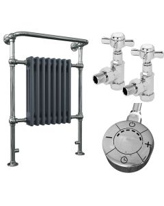 Arundel - Traditional Anthracite Dual Fuel Towel Radiators H963mm x W673mm 600w Thermostatic