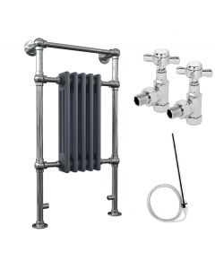 Adisham - Traditional Anthracite Dual Fuel Towel Radiators H963mm x W538mm 400w Standard