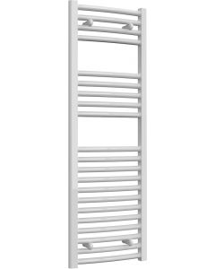 Diva - White Dual Fuel Towel Rail H1200mm x W400mm 600w Thermostatic - Curved