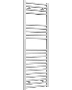 Diva - White Dual Fuel Towel Rail H1200mm x W400mm 600w Thermostatic - Straight