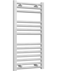 Diva - White Dual Fuel Towel Rail H800mm x W400mm 300w Thermostatic - Straight