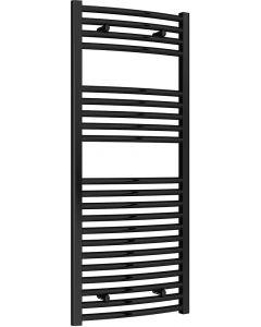Diva - Black Heated Towel Rail - H1200mm x W500mm - Curved