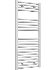 Diva - White Dual Fuel Towel Rail H1200mm x W500mm 600w Thermostatic - Curved