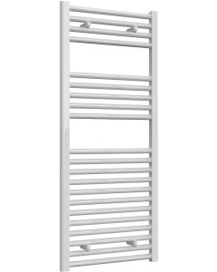 Diva - White Dual Fuel Towel Rail H1200mm x W500mm 600w Thermostatic - Straight