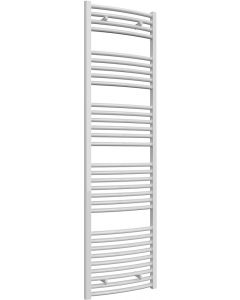 Diva - White Heated Towel Rail - H1800mm x W500mm - Curved