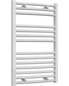 Diva - White Heated Towel Rail - H800mm x W500mm - Curved