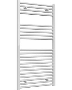 Diva - White Dual Fuel Towel Rail H1200mm x W600mm 600w Thermostatic - Straight