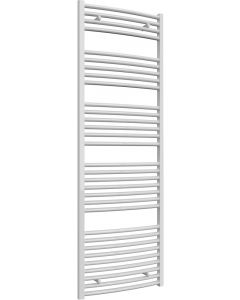 Diva - White Heated Towel Rail - H1800mm x W600mm - Curved
