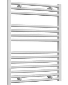Diva - White Dual Fuel Towel Rail H800mm x W600mm 300w Thermostatic - Curved