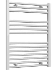 Diva - White Dual Fuel Towel Rail H800mm x W600mm 300w Thermostatic - Straight