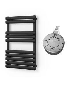 Omeara - Black Electric Towel Rail H825mm x W500mm 300w Thermostatic