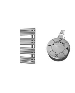 Percival - Silver Electric Towel Rail H884mm x W500mm 600w Thermostatic