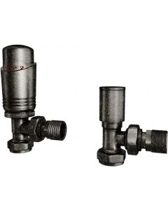 Talus Bold - Pewter Thermostatic Radiator Valves Angled 10mm