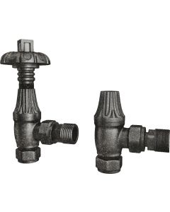 Signature Metal Head - Pewter Thermostatic Radiator Valves Angled 10mm
