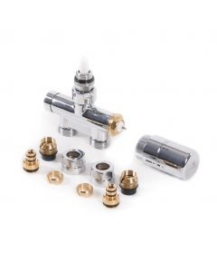 Integrated - Chrome Polished Dual Fuel Thermostatic Valve Straight