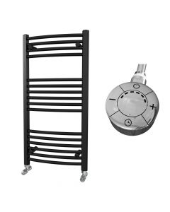 Zennor - Black Electric Towel Rail H1000mm x W500mm Curved 300w Thermostatic