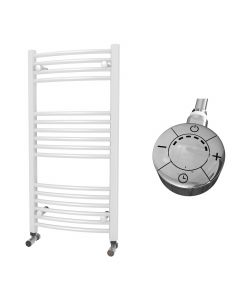 Zennor - White Electric Towel Rail H1000mm x W500mm Curved 300w Thermostatic