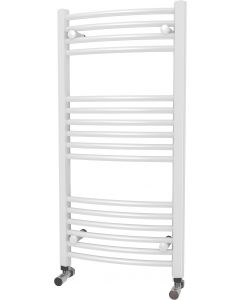 Zennor - White Heated Towel Rail - H1000mm x W500mm - Curved