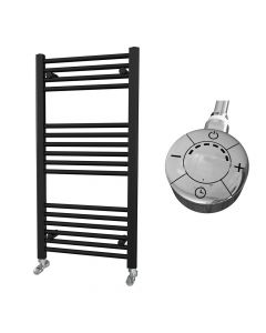 Zennor - Black Electric Towel Rail H1000mm x W500mm Straight 300w Thermostatic