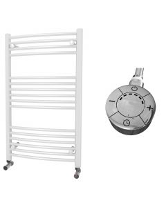 Zennor - White Electric Towel Rail H1000mm x W600mm Curved 600w Thermostatic