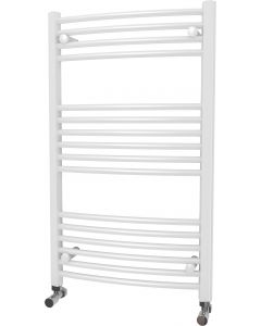 Zennor - White Heated Towel Rail - H1000mm x W600mm - Curved
