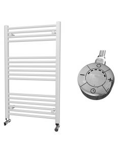 Zennor - White Electric Towel Rail H1000mm x W600mm Straight 600w Thermostatic
