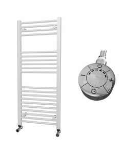 Zennor - White Electric Towel Rail H1200mm x W500mm Straight 600w Thermostatic