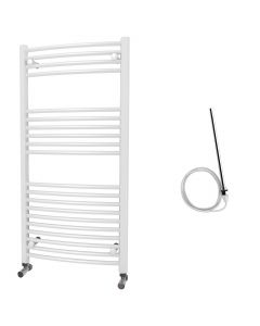 Zennor - White Electric Towel Rail H1200mm x W600mm Curved 600w Standard