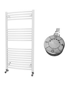 Zennor - White Electric Towel Rail H1200mm x W600mm Curved 600w Thermostatic
