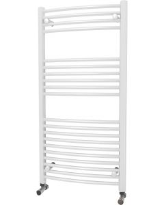 Zennor - White Heated Towel Rail - H1200mm x W600mm - Curved
