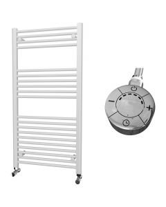 Zennor - White Electric Towel Rail H1200mm x W600mm Straight 600w Thermostatic