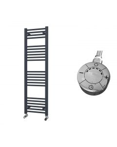Zennor - Anthracite Electric Towel Rail H1400mm x W400mm Straight 600w Thermostatic