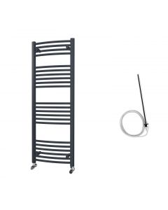 Zennor - Anthracite Electric Towel Rail H1400mm x W500mm Curved 600w Standard
