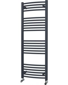 Zennor - Anthracite Heated Towel Rail - H1400mm x W500mm - Curved