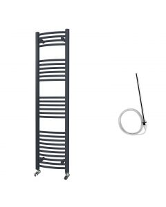 Zennor - Anthracite Electric Towel Rail H1600mm x W400mm Curved 600w Standard