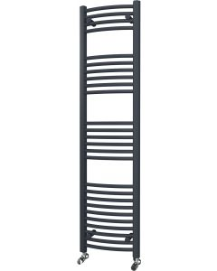 Zennor - Anthracite Heated Towel Rail - H1600mm x W400mm - Curved