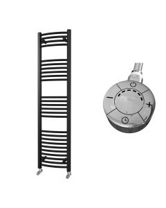 Zennor - Black Electric Towel Rail H1600mm x W400mm Curved 600w Thermostatic