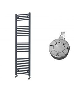 Zennor - Anthracite Electric Towel Rail H1600mm x W400mm Straight 600w Thermostatic