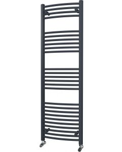 Zennor - Anthracite Heated Towel Rail - H1600mm x W500mm - Curved