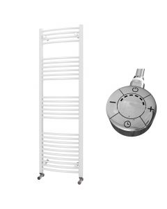 Zennor - White Electric Towel Rail H1600mm x W500mm Curved 600w Thermostatic