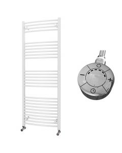 Zennor - White Electric Towel Rail H1600mm x W600mm Curved 1000w Thermostatic