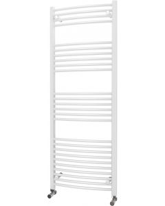 Zennor - White Heated Towel Rail - H1600mm x W600mm - Curved
