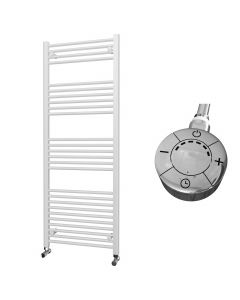 Zennor - White Electric Towel Rail H1600mm x W600mm Straight 1000w Thermostatic