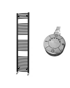 Zennor - Black Electric Towel Rail H1800mm x W400mm Curved 600w Thermostatic
