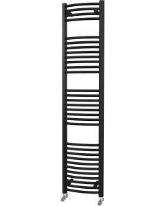Zennor - Black Heated Towel Rail - H1800mm x W400mm - Curved