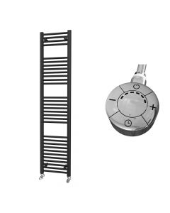 Zennor - Black Electric Towel Rail H1800mm x W400mm Straight 600w Thermostatic