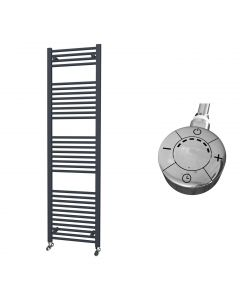 Zennor - Anthracite Electric Towel Rail H1800mm x W500mm Straight 1000w Thermostatic