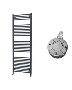 Zennor - Anthracite Electric Towel Rail H1800mm x W600mm Straight 1000w Thermostatic