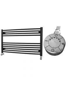 Zennor - Black Electric Towel Rail H600mm x W1000mm Curved 300w Thermostatic