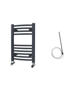 Zennor - Anthracite Electric Towel Rail H600mm x W400mm Curved 200w Standard